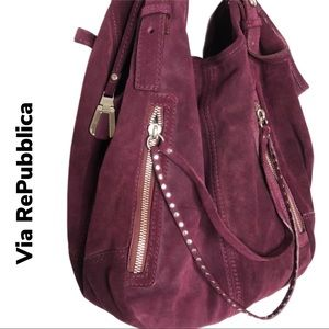 Via RePubblica Wine Leather Hobo Purse NWT